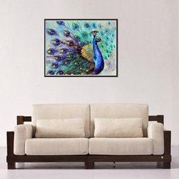 fb04818f25f5a Peacock feather embroidery online shopping - Full square peacock diamond  painting D DIY diamond embroidery feather