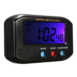 Ring Stop UK - Charminer Black ABS LCD Digital Time Date Alarm Clock Stop Watch Snooze Function With Night Light Alarm Ring Snooze Top Quality