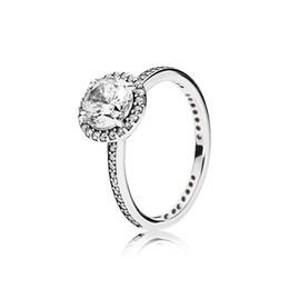 Venta al por mayor de Real 925 plata esterlina CZ Diamond RING con LOGO y caja original Fit Pandora style Anillo de boda joyería de compromiso para las mujeres