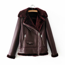 c144313f5e7 Women Winter High-end Warm Faux Leather Bomber Jacket Coat Casual Thick  Female Scooter Jacket Outwear Camel Burgundy Black Green