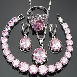 Nickle Free Rings Australia - ewelry set bracelet Nickle Free Silver 925 Round Pink Stones Wedding Bridal Jewelry Sets Bracelets Earrings Pendant Necklace Rings For Wo...