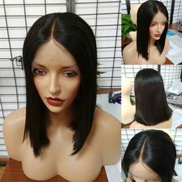 Discount black short bob styles - Short Brazilian Hair Wigs For Black Women Natural Color Silk Straight Human Hair Wigs Bob Style Glueless Full Lace Wig W