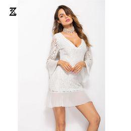 $enCountryForm.capitalKeyWord NZ - ZIDING Women Dress Solid Sheath Wrist Lace Above-Knee,Mini,Butterfly Sleeve Deep V-Neck OL Sexy Causal Party Dating Dress C1-017