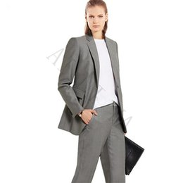eaf629cfdc38 Jacket+Pants Womens Business Suits Light Gray Female Office Uniform Formal  Work Evening Dinner Ladies Trouser Suit 2 Piece Suits
