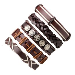 box braids 2019 - Mibrow 6pcs set Wristband Genuine Leather Charm Bracelet Men Jewelry Punk Vintage Braided Leather Bracelet For Men Gifts