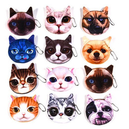 Wallets europe online shopping - Cute animal plush purse small wallet Europe and America baby boys girls cat dog head coin bag