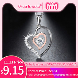 Necklaces Pendants Australia - ORSA JEWELS Genuine 925 Silver Double Heart Pendant Necklace with 0.3 ct Crystal Rhodium mixed Rose Gold Color Necklaces SN15 D18111201
