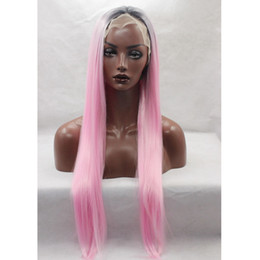 $enCountryForm.capitalKeyWord Canada - Ombre Pink Synthetic Lace Front Wig Long Silky Straight Wigs Two Tone Black Pink Ombre Glueless Lace Front Wigs Heat Resistant Fiber
