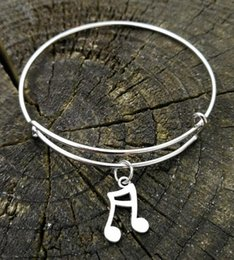 music note bangle NZ - Musical Music Note Bracelets Charm Expandable Wire Bangles Vintage Silver Cuff Bangles For Women Jewelry Gift Accessories NEW 10pcs