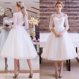 Bohemian tea length wedding dress online shopping - Simple Bohemian s Short Wedding Dresses Long Sleeve Lace Beach Boho Garden Country Style Vestido de novia Formal Bridal Gown