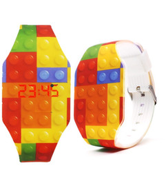Gift blocks online shopping - Creative kids boys girls blocks design toy digital led watches fashion children students gift party luminous rubber candy watch