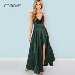 c367770dcf7 COLROVIE Robe d été à décolleté en V vert à paillettes vertes 2018 Nouvelle  robe à décolleté dos nu à taille haute Sexy Satin Women Evening Party