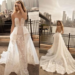 $enCountryForm.capitalKeyWord NZ - Berta 2018 Sweetheart Neckline Mermaid Wedding Dress Appliques Sash Bridal Gowns With Detachable Train Backless Wedding Dress