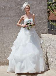 9b4f1670ed Venta caliente Vestido de fiesta Cariño Escote palabra de longitud Organza  Vestidos de novia blancos con