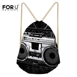 $enCountryForm.capitalKeyWord NZ - FORUDESIGNS Drawstring Bags with Printing Retro Radio Pattern String Backpack For Girls Boy High-Quality Eco-friendly Pouch Gift