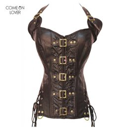 3c7007a9bc1 Discount sexy leather corset halter - Comeonlover Buckle Steampunk Corset  Faux Leather Burvogue Body Shaper Halter