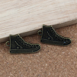 Tennis earrings online shopping - High Top Tennis Shoes Charms Pendants mm Antique bronze Fashion Jewelry DIY Fit Bracelets Necklace Earrings A