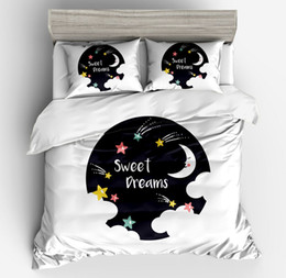 moon stars bedding sets 2019 - 2018 new 3d fresh Fashionable white Lovely star moon universe Bedding Sets girl Duvet Cover pollow case 3pc twin full qu