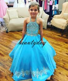 Toddler gliTz online shopping - Turquoise Little Girl s Pageant Dresses Gowns Toddler Kids Ball Gown Glitz Flower Girl Dress Weddings Beaded Size Organza