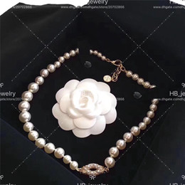 Gold necklace boxes pearls online shopping - 100th anniversary necklace choker double bracelet two effects for lady Design Women Party Wedding Luxury Jewelry With for Bride with BOX