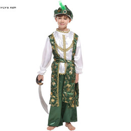 aladdin cosplay 2019 - Boys Halloween Arab prince Aladdin Costume kids Children Warrior Cosplay Carnival Purim Stage performance Masquerade Par