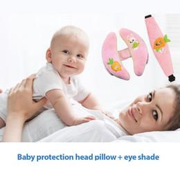 Pillow Mask NZ - Baby Car Headrest + Eye Mask 2PCS Car Seat Accessories Crib Pendant Pure Cotton Comfort Baby Pillow Goggles