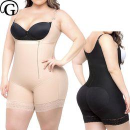 495690aef PRAYGER Women Plus Size Body Shaper Butt Lifter Tummy Control Short Wide  Straps Bodysuits With Zipper Slimming Waist S-6XL