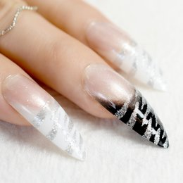 Patterned acrylic nail tiPs online shopping - Long Stiletto Nail Tips White Black Zebra Pattern French False Nails with Silver Glitter Sharp Fake Nail Arts For Salon Party