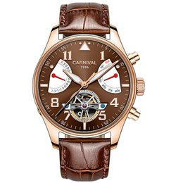 China Carnival Watch Men tourbillon Automatic Mechanical Luminous Stainless Steel Waterproof multifunction Brown Leather Watches suppliers
