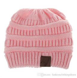 BaBy hair Beanie online shopping - Children Acrylic Winter Beanie Rib Knit Beanies Baby Fancy Head Ear Warmer Slouchy Snow Cap For Kids Cable Knitted Hair Bonnet
