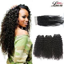 Discount kinky curly medium human hair - Kinky Curly Weave Human Hair Bundles with Lace Closure Malaysian Hair Weave 3 Bundles with Closure Curly 3 4 Bundles Vir