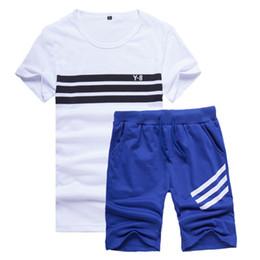 Mens Blue Shirt Black Pant Canada - 2018 Summer Mens Shorts Set Casual Tracksuit Men Pants Sportwears 2 Piece Short Sleeve T-shirts + Half Pants For Men Sportswear