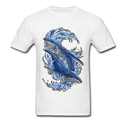 Double Shirt Designs Australia - Double Humpback Tshirt Men Blue Wave Whale T Shirt Newest Design Fashion Tops & Tees Marine Animals Picture T-Shirt