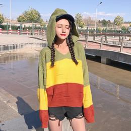 Rainbow Gradient Block Stripe Hollow Fish Net Mesh Hooded Sweet Cute Thin Knitwear  Sweater Pullover Knit Jumper Loose Korean Big 1e054a8238ab