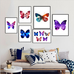 Discount wall decor art canvas butterflies - COLORFULBOY Nordic Minimalism Watercolor Butterfly Canvas Painting Wall Art Print Wall Pictures For Living Room Decor No
