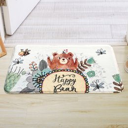 kitchen floor mats rugs NZ - Happy Bear Printing Kitchen Doorway Living Room Sofa Bathroom Mat Carpet 4 Colors Cute Kids Bath Rugs Mat Anti-Slip Floor Carpet Mat tapete