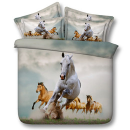 Horse Bedding Sets Queen NZ - 3D vivid galloping horse bedding sets animal duvet cover bedspreads comforter cover Bed Linen Quilt Covers bed cover for adults boys men