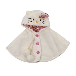 girl poncho kids 2019 - New Lovely Baby Girls Cat Hooded Cartoon Cloak Poncho Jacket Outwear Kids Warm Coat Clothes Cute Winter cheap girl ponch
