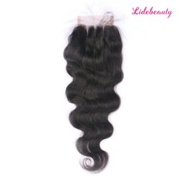 Three Part Human Hair Lace Closure Australia - Peruvian Virgin Human Hair 4*4 Lace Closure with Baby Hair Glueless Body Wave Free Part Middle Part Three Part Lace Closure Bleaches Knots