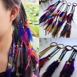 $enCountryForm.capitalKeyWord NZ - Handmade Bohemia Feather Hair Rubber Bands With Hair Plait Wood Beads Girls Hippie hair Rope Mix Colors