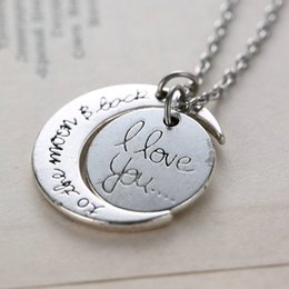 pendant backing 2019 - Fashion Necklace Moon Necklace I Love You To The Moon And Back For Mom Sister Family Pendant Link Chain cheap pendant ba