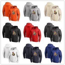 camp wear 2019 - Men's Ottawa Senators Fanatics Branded Black Ash White Red Orange embroidery Primary Logo Pullover Hoodies long Sle