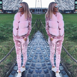 women velvet tracksuits NZ - Women Two Piece Set Female Winter Tracksuit Velvet Hoodies Top + Pants Ladies Long Sleeve Outfit Femme Sporting Suits