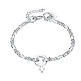 Sterling Silver Figaro Bracelet NZ - 925 Sterling Silver Bracelets for women flat figaro chains with lucky key full 925 jewelry silver bracelets bracelet femme 2018