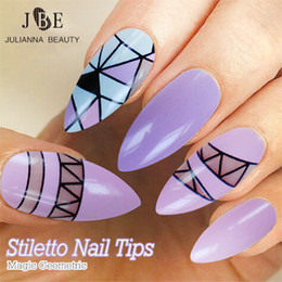 $enCountryForm.capitalKeyWord Canada - 24pcs  Box False Nails With Glue Long Sharp French Nail Art Tips Acrylic Full Shining Stiletto Nails Tips Almond Oval Faux Ongle