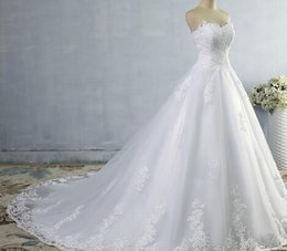 $enCountryForm.capitalKeyWord NZ - ZJ9059 2017 White Ivory Gown Tulle Sweetheart Wedding Dress Real Photo Court Train for bride Dresses plus size High Quality