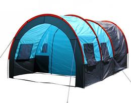 Vente en gros 5-10 personnes grande double couche tunnel tente camping en plein air fête de famille randonnée randonnée pêche tente touristique maison