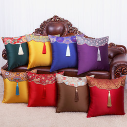 green office chairs Australia - Patchwork Tassel Vintage Christmas Silk Pillow Cover Cushion Sofa Chair Cushion Case Office Home Decor Lumbar Cushion Chinese PillowCase