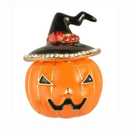 Chinese  Cute Crystal Hat Pumpkin Brooches for Women New Design Halloween Brooch Pin Cartoon Pumpkin Brooches Fashion Jewelry manufacturers