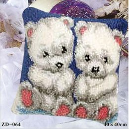 embroidered bedding designs 2019 - Colorful Geometric Design Couple Bears Throw Pillow Case Cushion Cover Animal Square Pillowcases Sofa Bed Pillow Covers(